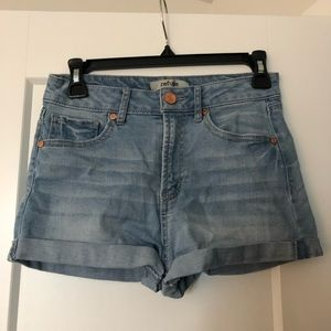 Refuge Denim High Waisted Shorts Light Wash